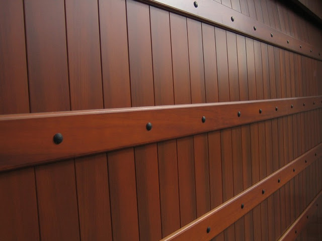 Give your bland garage door a faux wood grain finish for Garage door faux wood finish