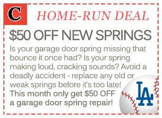 $50 OFF new garage door spring installations in Los Angeles