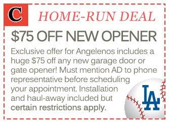 $75 new garage door opener installations in Los Angeles